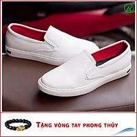 Giày Slip On Nam Aroti Đế Khâu Chắc Chắn Phong Cách Đơn Giản Màu Trắng - M498-TRANG(VT)-Kèm Vòng Tay Phong Thủy