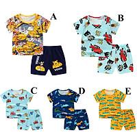 2 Pcs/set Children Suit Cotton Summer Cute Cartoon Print Short Sleeve T-shirt + Shorts Suit For 0-4 Years Old