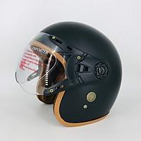 Mũ bảo hiểm 3/4 đầu SRT ASA9 368K lót nâu cao cấp - có kính càng