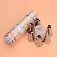 Bộ 6 đui bắt kem inox kèm chốt (ống đựng)