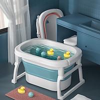 Thau tắm, bồn tắm, chậu tắm cho bé gấp gọn từ 0-10 tuổi, có 2 nấc, có rãnh cắm vòi sen tiện lợi cho bé (loại lớn dày)