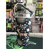 Túi xách cho ly giữ nhiệt 900ml mẫu nai xanh rêu