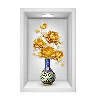 Tranh dán tường ô 3D lọ hoa đẹp 011 KT 40 x 60 cm