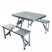 Bộ bàn ăn xếp gọn du lịch 4 người nhôm cao cấp siêu nhẹ RE0413