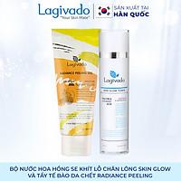 Bộ đôi nước hoa hồng se khít lỗ chân lông Hàn Quốc Lagivado Skin Glow 120 ml và tẩy tế bào da chết Radiance Peeling 50 ml.