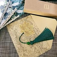 Bookmark HOA SEN cổ trang kim loại mỏng đánh dấu trang phong cách cổ trang