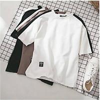 Áo thun tay lỡ cotton thoáng mát form rộng  viền chữ nhật (unisex nam nữ đều mặc được)