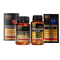 Bộ sản phẩm nhập khẩu chính hãng giúp bổ tim, giảm lão hóa tim mạch, bổ xương khớp, giảm đau nhức xương khớp gồm: Viên uống bổ xương khớp GO Glucosamine 1-A-Day 1500mg (30 viên) và viên uống tim GO CO Q10 160mg ( 30 viên)