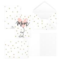 Thiệp tặng mẹ, mother's day, ngày phụ nữ, ngày Vu Lan MOM 12,5x17,6 SDstationery PINK pattern bong bóng trái tim chấm bi