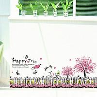 Decal trang trí dán tường hàng rào Happy Tree - HP332
