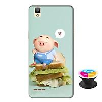 Ốp lưng nhựa dẻo dành cho Oppo A53 in hình Heo Con Bánh Mì - Tặng Popsocket in logo iCase - Hàng Chính Hãng