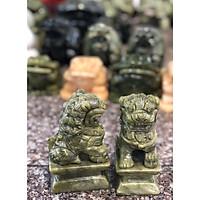 cặp Kỳ Lân Đá Lam Ngọc Tự Nhiên Phong Thủy - 10cm để bàn