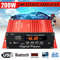 200W bluetooth 2.0 Channel Audio Power HiFi Amplifier 12V/220V AV Amp Speaker 15+15W RMS with Remote Control for Car Home