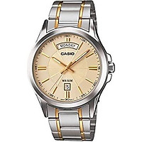 Casio #MTP1381G-9AV Men's Classic Two Tone Stainless Steel 50M Day Date Gold Dial Watch