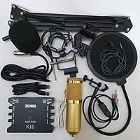 combo Bộ Míc Thu Âm Livestream Hát Karaoke Online Micro BM-900+ CARD K10+ dây live MA2+Tặng Tai nhét tai+ Chân kẹp+màng lọc