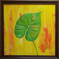 Tranh sơn dầu vẽ tay lá rừng nhiệt đới 03