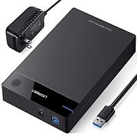 Hộp đựng ổ cứng 3.5 chuẩn SATA hỗ trợ 10TB có cấp nguồn Ugreen 222TB50422US  hàng chính hãng