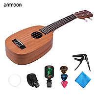 ammoon 23 Inch Pineapple Shaped Ukulele Kit 4 String Beginner Hawai Guitar Ukelele Plywood Top and Fingerboard with Gig