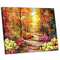 Tranh sơn dầu số hoá tự vẽ đã căn sẵn khung 40x50cm - Rừng hoa