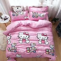 Bộ chăn ga gối cotton LIDACO PL1 - Kitty Hồng (SP001112) - TẶNG VỎ GỐI ÔM