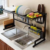 Kệ inox để bát đũa trên chậu rửa thép đen cao cấp - kệ để đồ nhà bếp inox 304