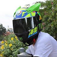 [COMBO] Mũ Bảo Hiểm Fullface AGU Tem Đa Sắc – Sừng – Đuôi Gió