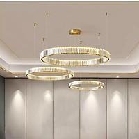 Đèn thả led pha lê cao cấp thiết kế vòng tròn sang trọng trang trí phòng khách, nhà hàng, khách sạn THCN 8077-21