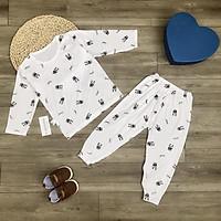 Bộ mặc ngủ dài tay thun lạnh họa tiết hình Panda, thoáng mát cho bé (6-17kg)