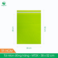 MT3X - 38x52 cm - Túi nilon gói hàng - 300 túi niêm phong đóng hàng màu xanh lá mạ