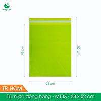 MT3X - 38x52 cm - Túi nilon gói hàng - 100 túi niêm phong đóng hàng màu xanh lá mạ
