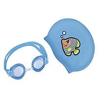 Bộ phụ kiện kính bơi mũ bơi trẻ em tặng 1 bộ nút tai kẹp mũi ( Có 3 màu lựa chọn: xanh, vàng và cam )