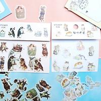 Combo 2 Bộ 32 Sticker Hình Dán Mini Động Vật Và Mèo Dễ Thương