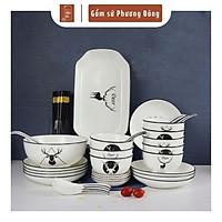 Bộ chén đĩa, bát đĩa đẹp giá rẻ chất liệu gốm sứ cao cấp, họa tiết hươu vẽ tay thủ công độc đáo