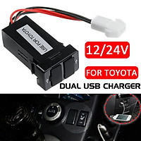 (For Toyota) Waterproof Dual USB Car Charger Double Port Socket Fast Charging Smart Adapter Power Plug With Wiring & Fuse For Phone PAD Camera Car Cleaner Mobile Device DC12V-24V