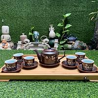 Bộ ấm trà men nâu dáng quai vuông vẽ mai