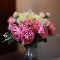 Bình hoa giả trang trí bàn làm viêc, hoa vải cắm sẵn