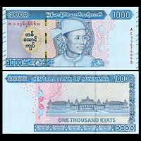 Tờ tiền Miến Điện 1000 Kyats Myanmar người đàn ông , tiền Đông Nam Á , Mới 100% UNC
