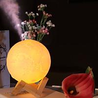 Máy xông tinh dầu, tạo độ ẩm hình Mặt trăng kiêm đèn ngủ lung linh (có đế gỗ đi kèm) - màu giao ngẫu nhiên