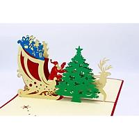 Thiệp 3D Giáng Sinh - Tuần Lộc Chở Thông - NON37