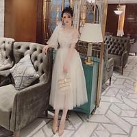 Đầm xoè dự tiệc sang trọng TRIPBLE T DRESS -size M/L (kèm ảnh/video thật)MS218V