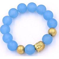 Vòng tay phong thủy đá thạch anh xanh biển mờ 14 ly VTAXBMNLVHB14 - Chuỗi Phật Như lai inox vàng kèm 2 bi - Chuỗi đá phong thủy, đem lại bình an, may mắn - Chuỗi tay Size lớn