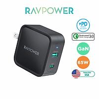 Adapter Củ Sạc Nhanh GaN Siêu Nhỏ RAVPower RP-PC133 USB Type C PD 65W, USB QC 3.0 - Hàng Chính Hãng