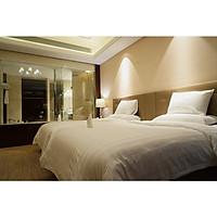 Bộ Chăn Ga Gối Đầy Đủ Khách Sạn 5 Sao Hàng Chuẩn - 80%Cotton Premium T300 Mềm Mịn Mát- Trắng & Trắng Kẻ Sọc Khách Sạn Sang Trọng  - Độc Quyền