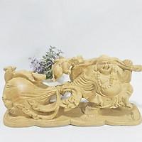 Tượng ÔNG DI LẶC KÉO BAO TIỀN gỗ Bách Xanh chuẩn