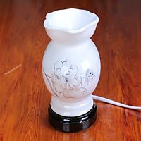 Đèn xông tinh dầu sứ Lasante hình bát mẫu hoa trắng DXS-03
