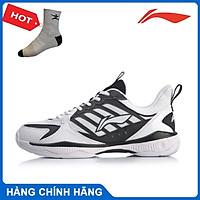 Giày cầu lông nam Lining AYTQ019-1 màu trắng phối đen hàng chính hãng - Tặng kèm tất Bendu chính hãng