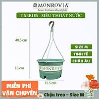 Chậu treo trồng cây MONROVIA Size M, Dòng T-series, chậu nhựa treo trang trí, trồng cây cảnh ban công, chậu trồng hoa, thiết kế tinh tế, thoát nước tốt, nhựa cao cấp PP, nhập khẩu, tiêu chuẩn Châu Âu