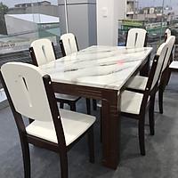 Bộ bàn ăn mặt đá nhập khẩu cao cấp TD-MD020 1M4-1M6 6 ghế
