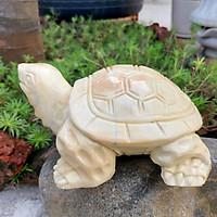 Tượng rùa đá cà rốt phong thủy 16cm - đá Non Nước