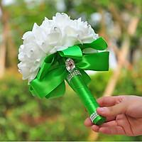Bó hoa cưới Hàn Quốc Tay cầm Xanh lục phối Bông trắng